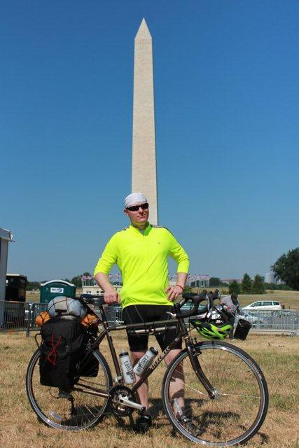 Dr. Rich Huffaker setting off on his bike trek from Washington D.C to spread the word about OC