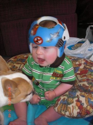 Cranial helmet provided for child