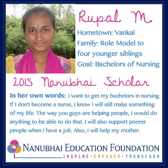 Rupal is studying to become a nurse