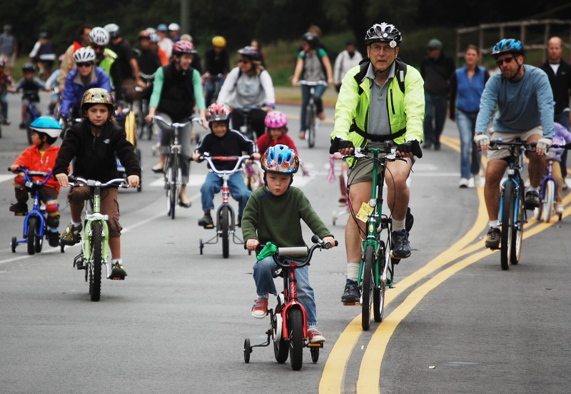 Kids and adults cycle enjoy the SFBC's annual Family Day in Golden Gate Park (photo: Andy van Wart)