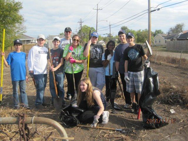 Young volunteers after clearing a field in New Orleans