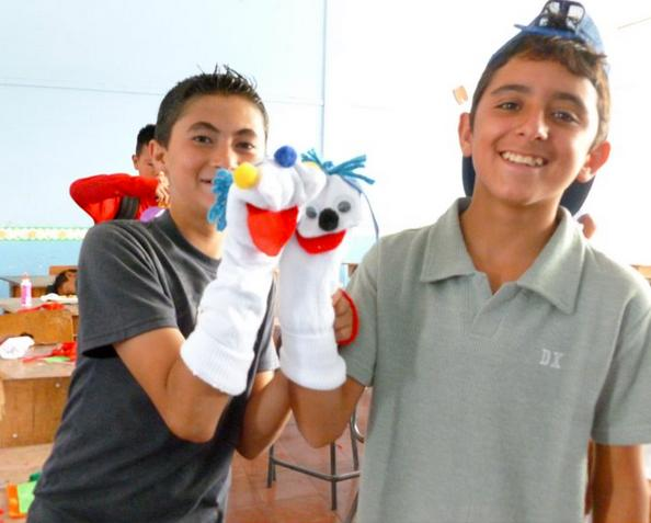 Boys of Fatima School in Costa Rica created sock puppets to play with!