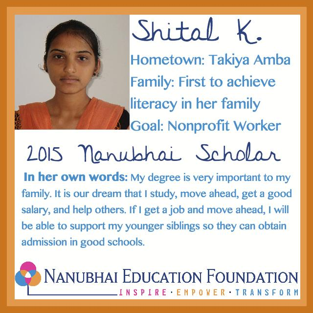 Shital wants to work for a NonProfit when she finishes school
