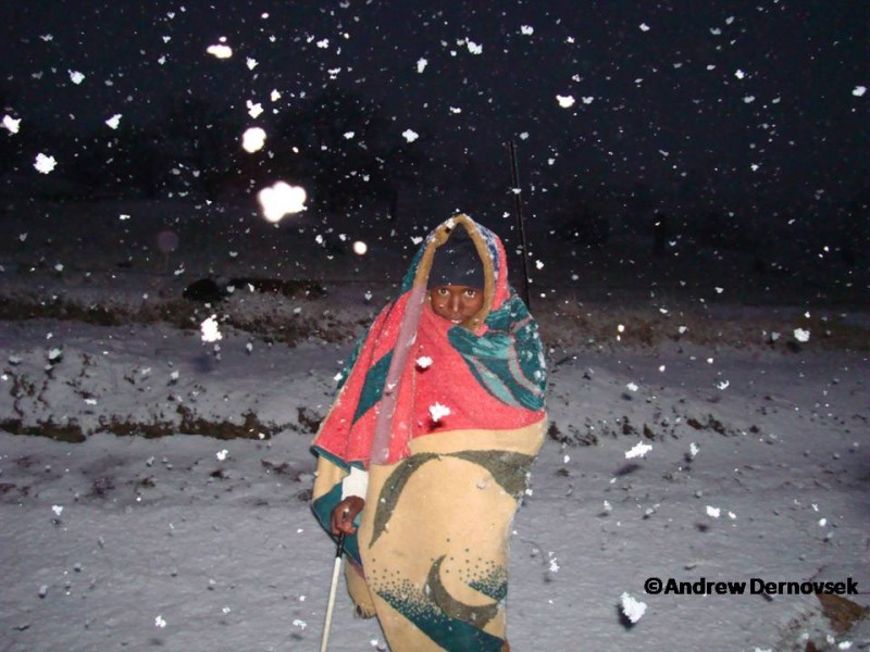 It SNOWs in Africa!  Lesotho has a temperate climate, & with its high elevation, it has real winters