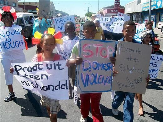 Young women protesting against violence in South Africa