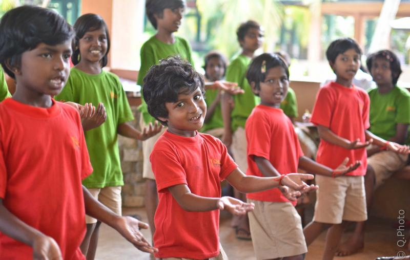Dancing & singing at CEI Leadership Academies, Sri Lanka