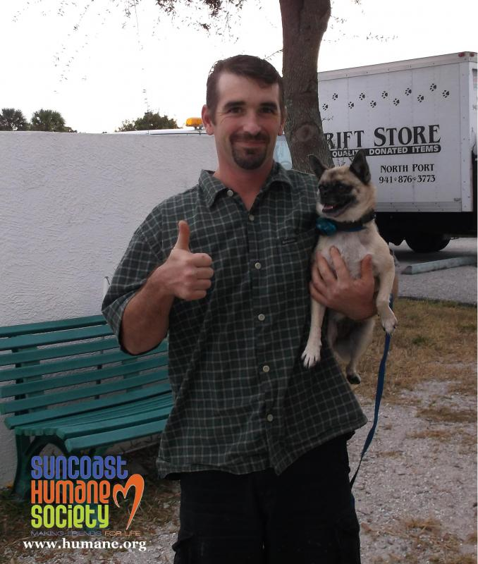 Our lost & found service helps reunite pets with their owners, like this happy guy and his pooch!