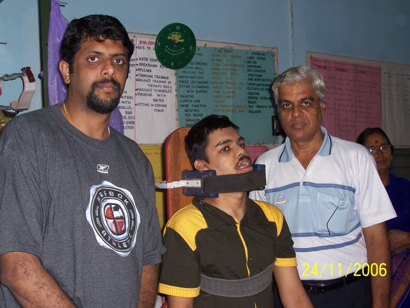 Suresh with Mr.Srinivasan - Founder of Nesam and his son
