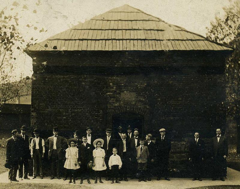 Postcard image of family visiting Block House in the early 20th century. Courtesy of Susie Brashear.