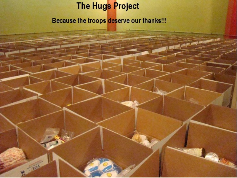 Part of the 3,862 boxesThe Hugs Project sent