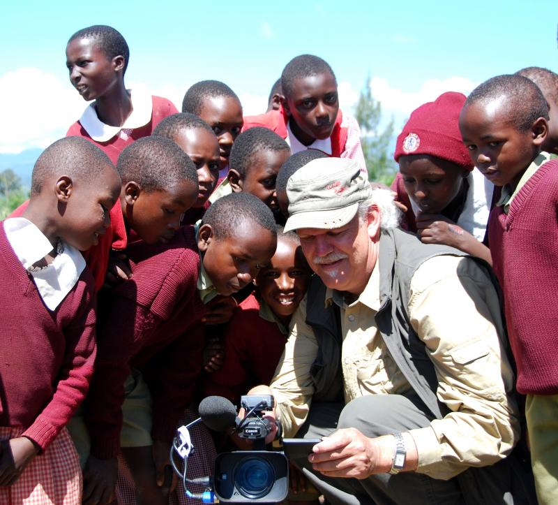 Founder Turk Pipkin with kids in our Kenya School Fund
