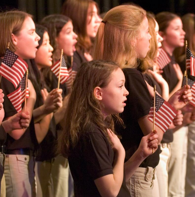 The MYA Voices Rising youth choral group performs a patriotic concert