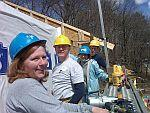 Habitat for Humanity volunteers building a home in Lancaster, MA