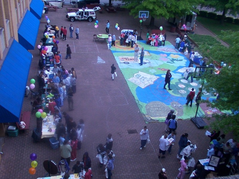 The Center's courtyard hosts many events such as the safety fair.