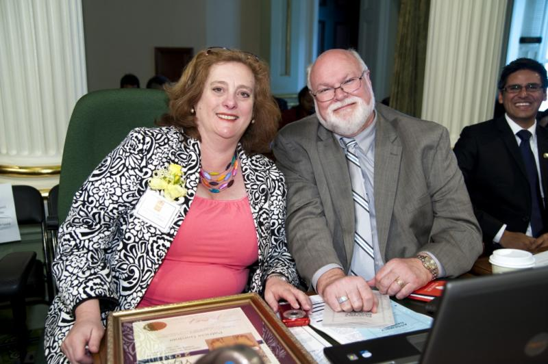 Assemblyman Jim Beall with Patricia Gardner in Sacramento