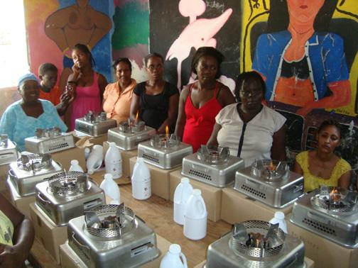 Women in Jacmel, Haiti learning to use their new ethanol stoves