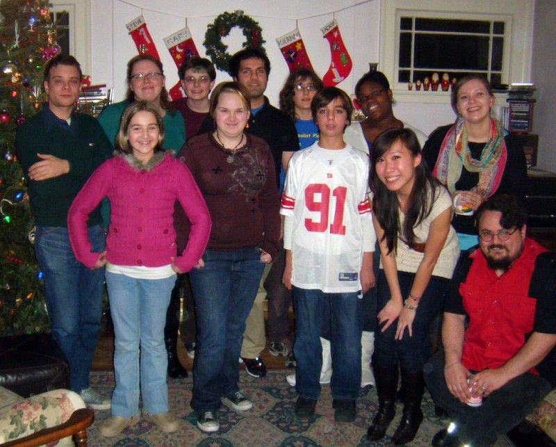 YJI students and alumni at a holiday party