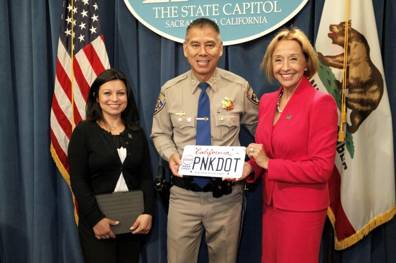 The California Highway Patrol partners with Donate Life California to raise money with the Pink Dot License Plate. Funds raised will support Donate Life California's statewide outreach and education programs. Read more at www.PinkDotPlate.org