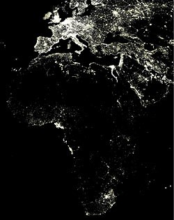 This is a photo of Africa at night