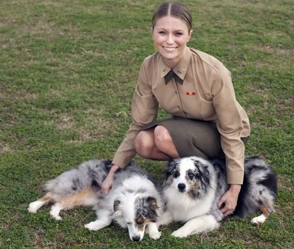 1stLt Alisa Johnson, founder of Dogs on Deployment, with her dogs, JD and Jersey