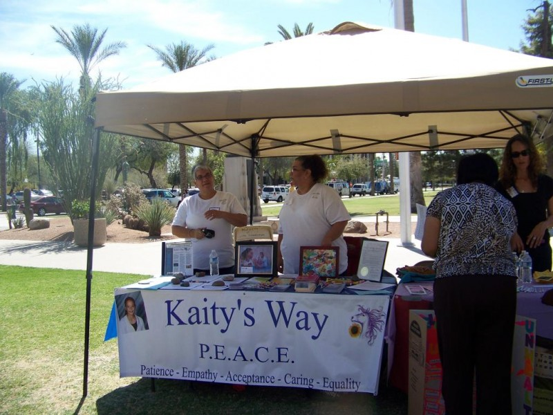 Kaity's Way Volunteers Donna McClung and Debbie Sinohui manning Kaity's Way exhibit table