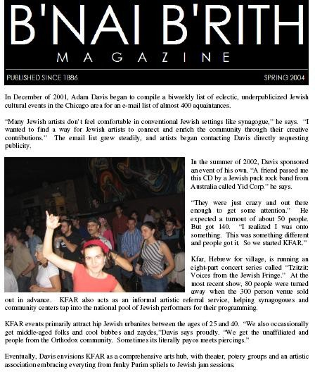 Bnai Brith Article: Trailblazers!