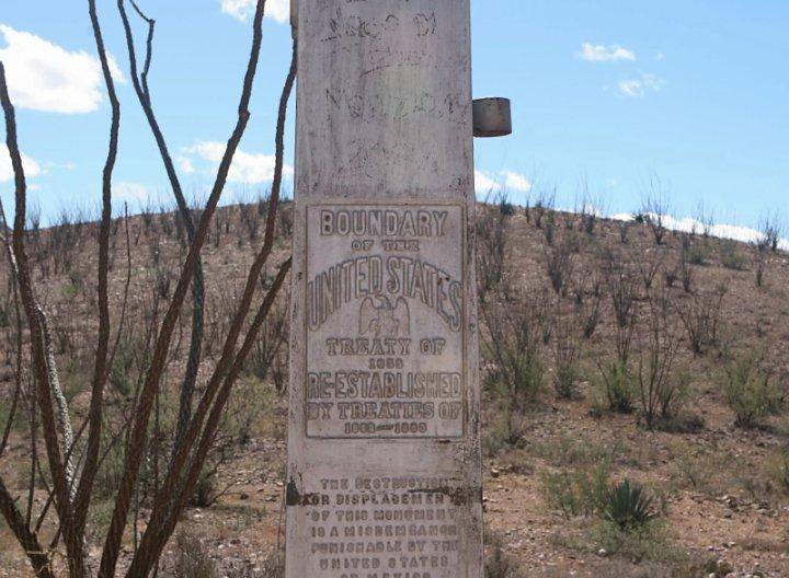 A visit to one of the border monuments in Ambos Nogales shows people the U.S.-Mexico border line.