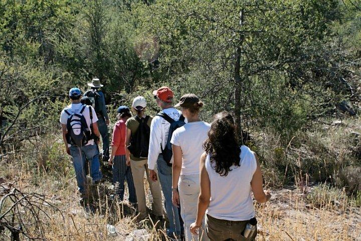 Group from a church hikes in the Sonora desert to experience the harsh conditions.