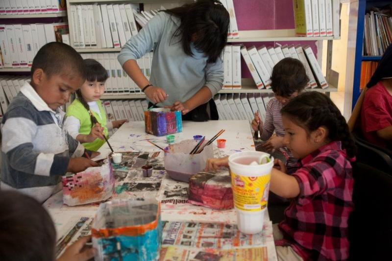 Children from the HEPAC community center in Nogales, Sonora, Mexico take part in art workshops.