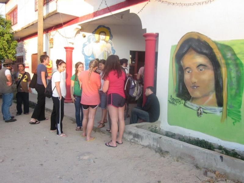 Group from Boston College visiting a migrant shelter in Chiapas.