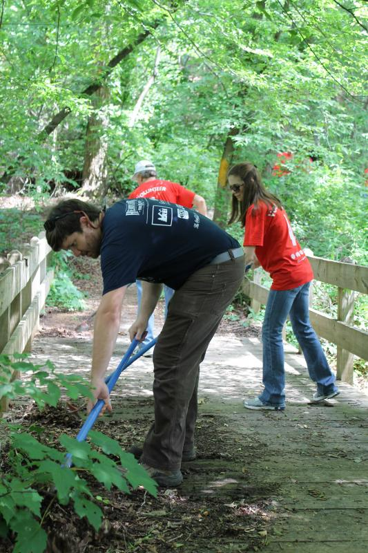 Bryan and volunteers from Coca-Cola during a corporate service project