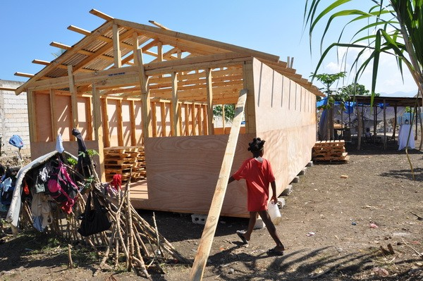 Construction on the new shelter in Leogane, Haiti