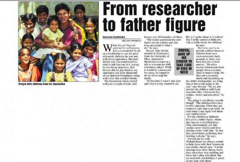 An article on Sphoorti in Deccan Chronicle
