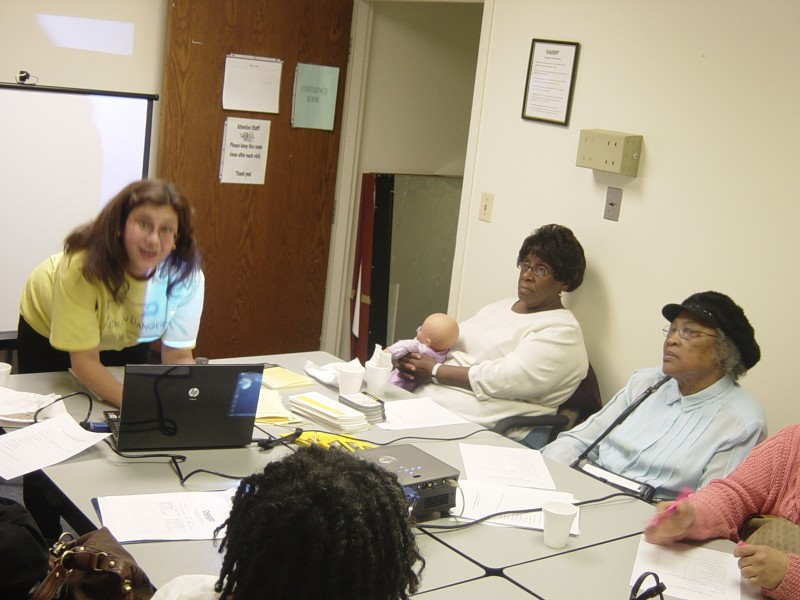 Program Director Sarah Chusid provides life-saving information with Chicago area grandparents.