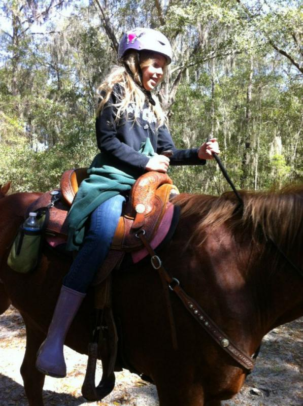 Little girls remember their 1st horse back ride.
