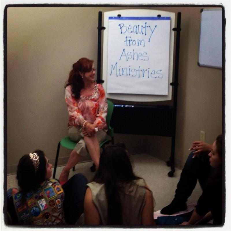 Our founder, Julie Shematz, speaking on human trafficking to Girl Scouts.