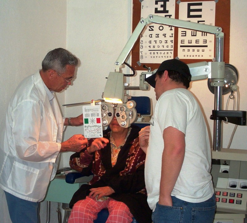 A patient receives a free vision screening at a clinic near San Quintín, BC, Mexico