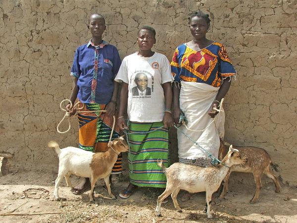 Group of women who just received goats