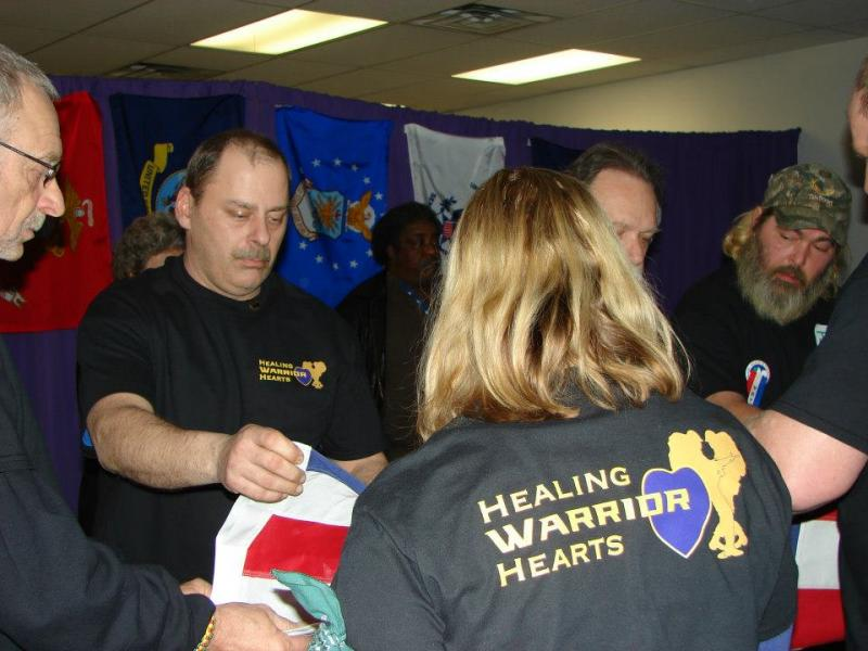 Flag ceremony at Healing Warrior Hearts retreat