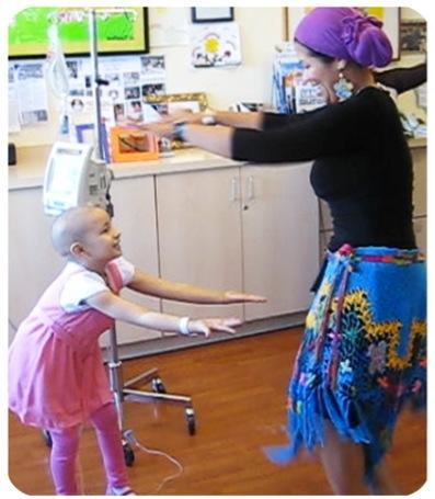 Amanda enjoying a Dancin Power class at the cancer unit of Children's Hosp. Oakland.