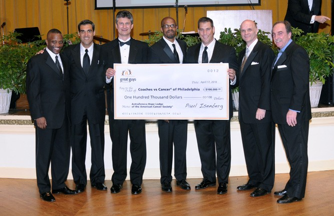 Philly 6 Coaches and Paul Isenberg at the Coaches vs. Cancer Gala for the check presentation