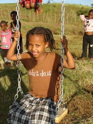 Enjoying her first day at ICA's orphanage in Ethiopia