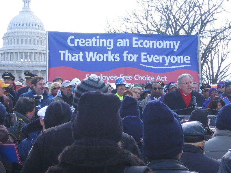 AFJ staff supporting the Employee Free Choice Act at a rally on the Hill featuring Senator Harkin.