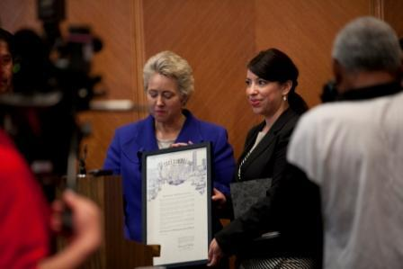 Receiving our 2012 Proclamation for Human Trafficking Awareness Month from Mayor Annise Parker