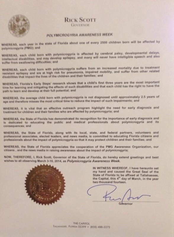 Official Proclamation for Polymicrogyria Awareness Week to be held on the first full week of March each year.