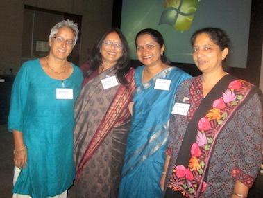 HIV palliative care seminar presentation team. (Left to right): Jane Bates, Sanghamitra Iyengar. Shoba Nair and Saira Paul.