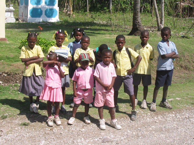 Haitian children going to school