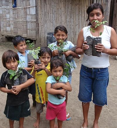 Kids plant trees in Ecuador