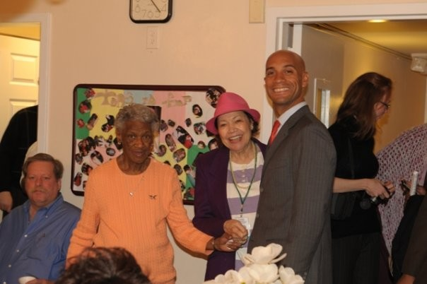 Mayor Fenty greets some of the low-income seniors who are served each year at Dwelling Place.