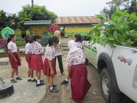 Students preparing to do tree planting activities
